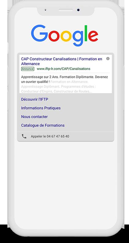 Publicité Google Ads IFTP Occitanie