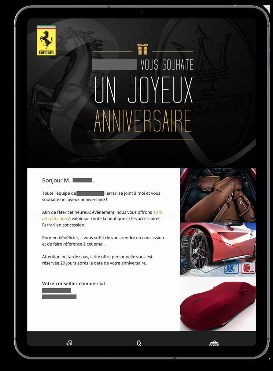 Messages automatiques générés par notre plateforme marketing